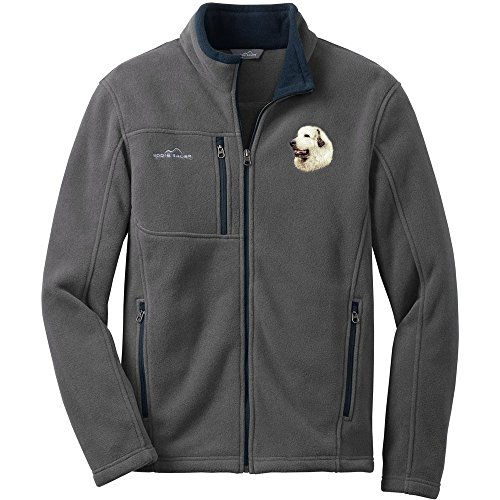 Cherrybrook Dog Breed Embroidered Mens Eddie Bauer Fleece Jacket - X-Large - Gray - Great Pyrenees