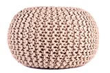 Pouf Ottoman Hand Knitted Beige Round Cable Style Cotton Dori Braided Rope Floor Comfortable Seat Footstool 16''x 20'' By MystiqueDecors