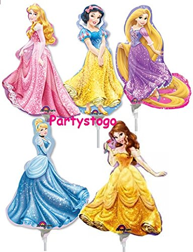 Belle Mini Mix - DISNEY PRINCESS BALLOONS BIRTHDAY PARTY MINI SHAPE MIX FAVORS DECORATIONS (QTY10) BELLE, CINDERELLA, AURORA, RAPUNZEL, SNOWWHITE