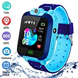 QUDADA Kids Smart Watch Phone Waterproof,LBS Tracker Watch Phone with SOS Voice Chat Camera Flashlight Smart Watch for 3-12 Years Old Boys Girls (Blue)