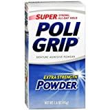 SUPER POLIGRIP Extra Strength Denture Adhesive Powder 1.60 oz (Pack of 2)