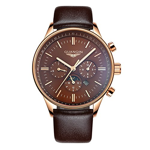 メンズ腕時計 人気ブランド クオーツ腕時計 日常生活防水 カレンダー( 曜日表示)夜光機能 本革 ベルトタイプ腕時計 ピンクゴールド ビジネスとシンプル腕時計 おしゃれ シンプルデザインGUANQIN12003 (シルバーとホワイト) B0116SVZ4O シルバーとホワイト