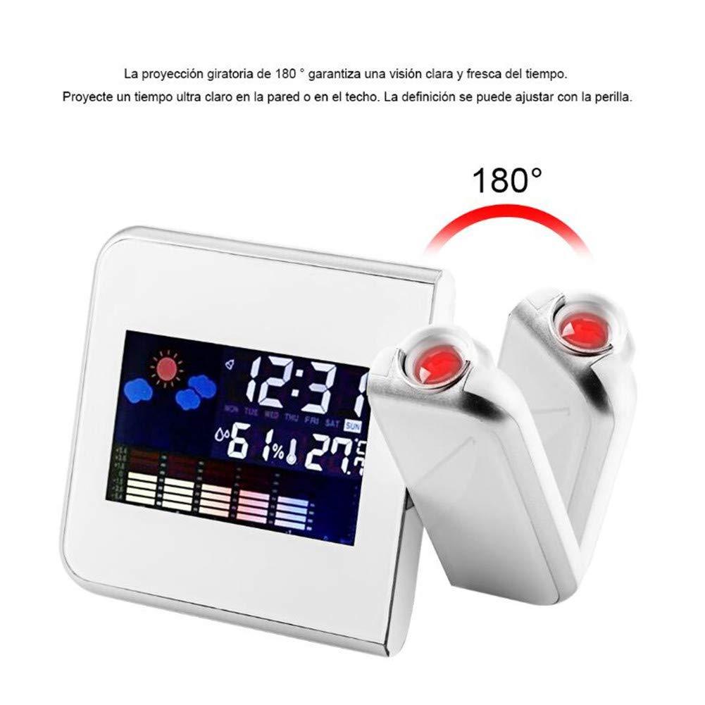 Proiezione Quadrata Digitale Meteo Digitale LCD Snooze Sveglia Proiettore Display A Colori Retroilluminazione A LED Sveglia Digitale,White