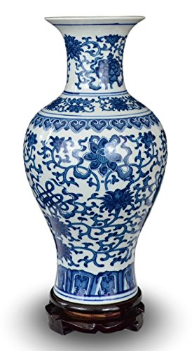 Fish Porcelain Vase (Classic Blue and White Floral Porcelain Vase, Fishtail Vase China Ming Style 19