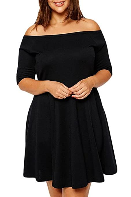 c090214c3011 New Ladies Plus Size Black Boat Neck Skater Dress Office Party Wear Evening  Special Occasion Dress Size XL UK 14 EU 42  Amazon.co.uk  DIY   Tools