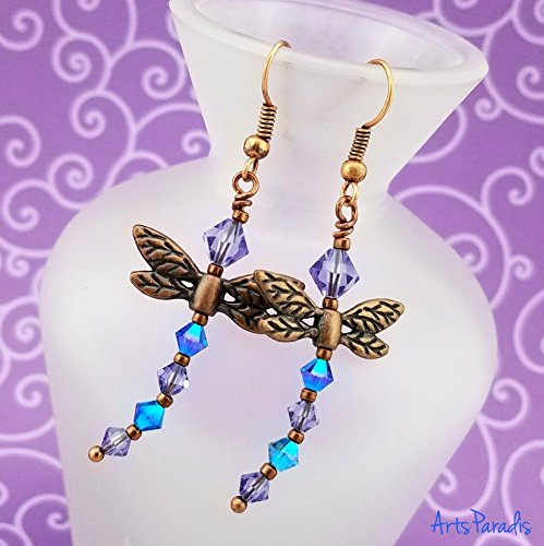 Copper Dragonfly Dangle Earrings with Blue and Purple Swarovski Crystal by - Copper Bicone Crystal