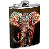 Elephant Art Flask S3 Stainless Steel 8oz Hip Silver Alcohol Whiskey Drinking Brandy Rum