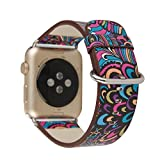 TCSHOW For Apple Watch Band 42mm,42mm Soft PU Leather Pastoral/Rural Style Flower Pattern Replacement Strap Wrist Band with Silver Metal Adapter for both Series 1 and Series 2 (I)