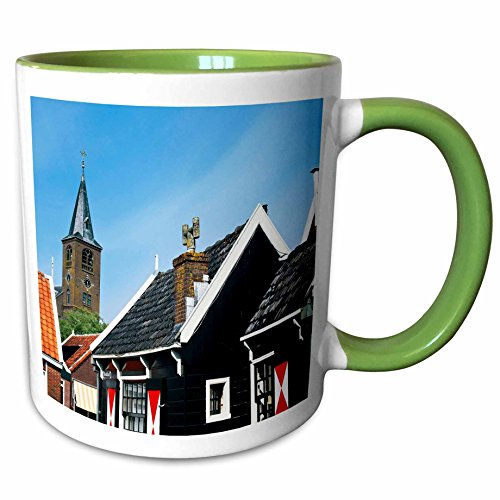 3dRose Danita Delimont - Houses - Netherlands, Edam-Volendam, Houses on the canals - EU20 MGL0047 - Miva Stock - 15oz Two-Tone Green Mug (mug_138335_12)