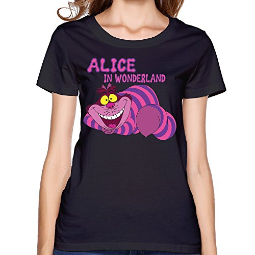 Women's Tshirt Cool Alice In Wonderland Cat XS Black (Wentworth Merchandise compare prices)
