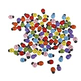 Tinksky 100pcs Mini Ladybugs Shaped Stickers Miniature Ornament DIY Kit for Fairy Garden Dollhouse Plant Decor Home Decor Wall Stickers Kids Toys DIY Ladybug (Mixed Color)