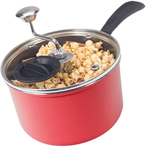 Zippy Pop Red Stovetop Popcorn Popper with Glass Lid, 4-Quart Capacity