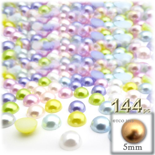 the-crafts-outlet-144-piece-pearl-finish-half-dome-round-beads-5mm-pastel-mix