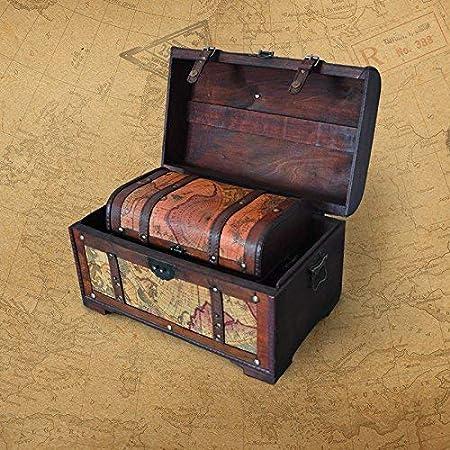 Decorado Continental Retro Madera Vieja Caja de Madera Ventana Que Contiene Accesorios de fotografía portátil Mapa Piel Pequeños Adornos: Amazon.es: Hogar
