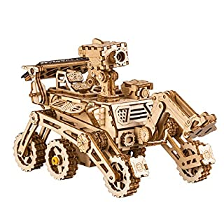 ROKR Assemble Solar Energy Powered Cars-Moveable 3D Wooden Puzzle Toys-Funny Teaching Educational-Home Deco-Model Building Sets-Best Christmas,Birthday Gift for Boys,Children,Adult (Curiosity Rover)