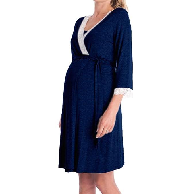 Mujeres Encaje Costura Embarazo Y Lactancia Vestido De Lactancia Camisón Ropa De Dormir Moda De Manga