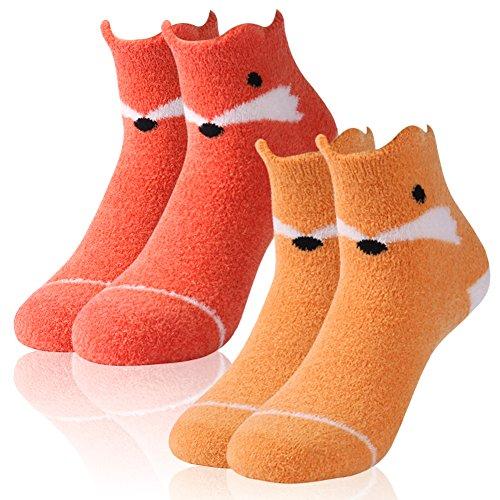 Warm Fuzzy Socks,Womens Girls Super Soft Silky Plush Lovely Fox Patterns Best Gift Anti-slip Winter Boat Socks Fashion Slipper Socks Vive Bears 2 Pairs ()