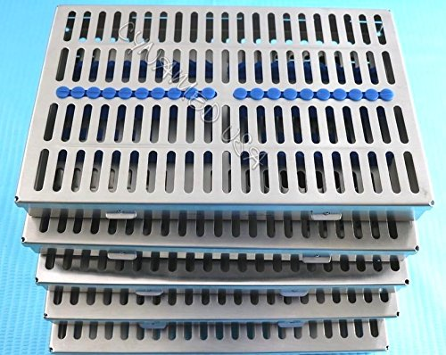 5 HEAVY DUTY GERMAN DENTAL AUTOCLAVE STERILIZATION CASSETTE RACK BOX TRAY FOR 20 INSTRUMENT BLUE ( CYNAMED ) by CYNAMED (Image #1)