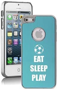 Apple iPhone 4 4s Aluminum Plated Chrome Hard Back Case Cover Eat Sleep Play Soccer (Light Blue)