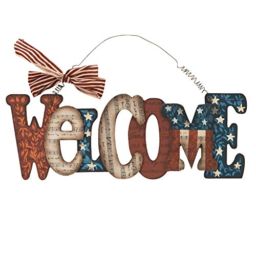 One Holiday Way Wood Red, White, and Blue America Wall Hanging Welcome Sign – 4th of July Decoration (Welcome) ()