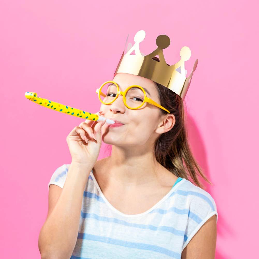 WXJ13 28 Pieces Foil Paper Crowns Paper Party Hat for Birthday Party Celebration Party Crowns 3 Colors