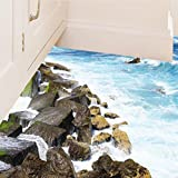 "BIBITIME The Sea Washed the Seashore Reef Wall Decal Ocean Wave Vinyl Sticker for Bathroom Floor Vivid 3D Art Mural Nursery Kids Room Decor 19.6"" x 27.5"""