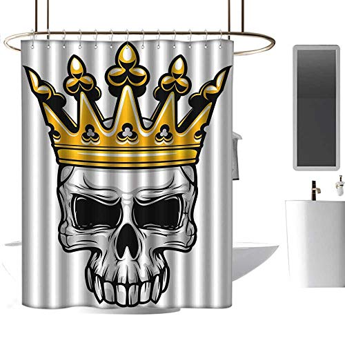 homehot Shower Curtains Black Gray King Queen Size,Hand Drawn Crowned Skull Cranium with Coronet Tiara Halloween Themed Image,Golden and Light Grey,W72 x L72,Shower Curtain for Kids -
