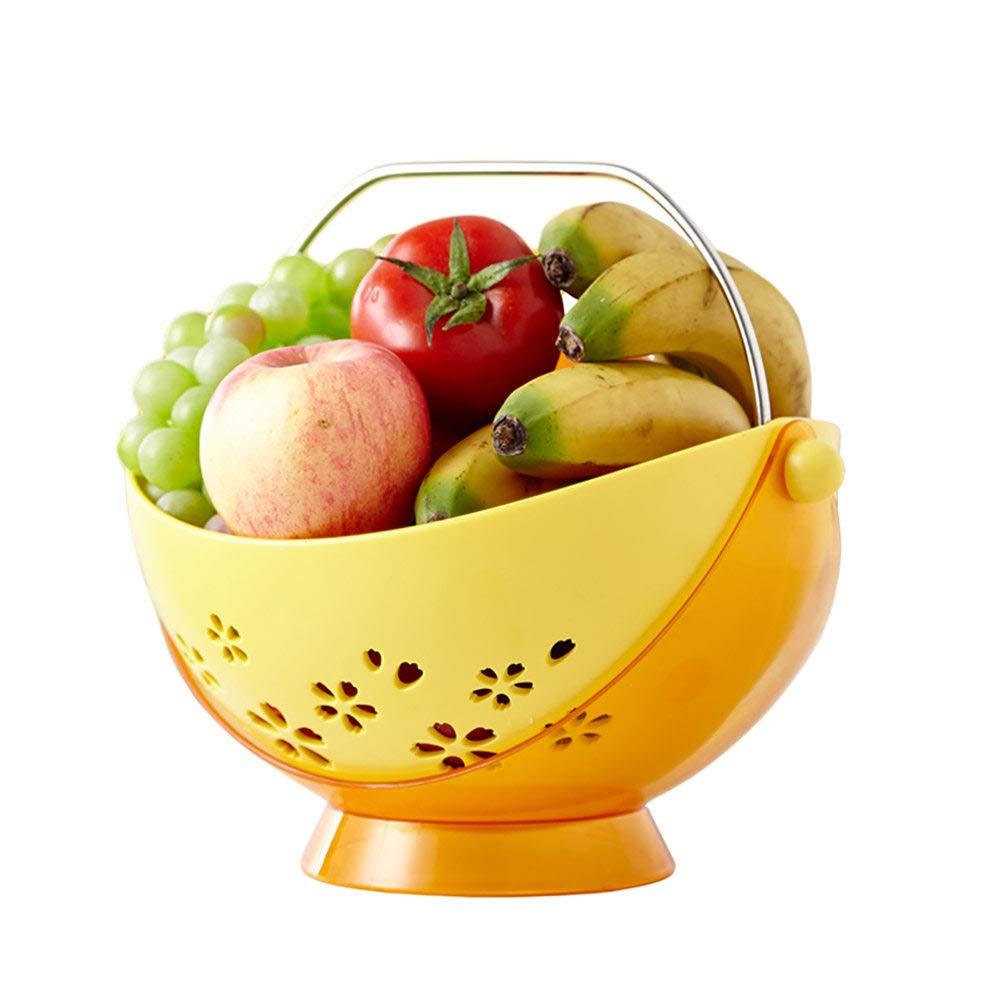 With Handle,Can Drain Fruit & Veg Basket Bowl,Wide Range Of Uses Plastic Fruit Bowls/Bread Basket,Banana Hanger,Yellow