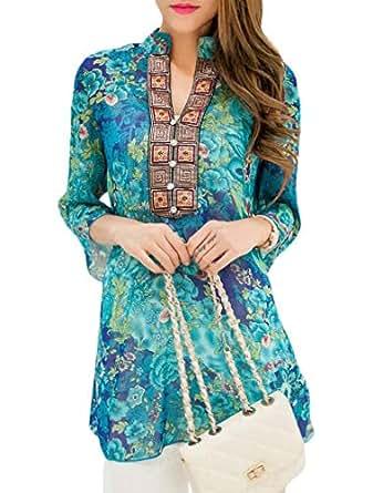 Yisism Women Chiffon Ethnic Print Plus Size V-Neck Tops T-Shirt Blouse Blue US 2XL
