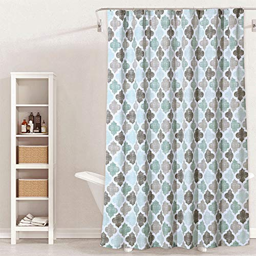 Geometric Fabric Shower Curtain, Heavy Duty Trellis Patterned Poly-Cotton Decorative Shower Curtains for Bathroom, 72 x 72, Green/Brown