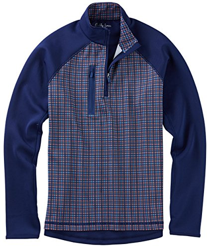 Bobby Jones Men's Xh20 Performance Grid Print Pullover Golf Jacket, Summer Navy, Medium