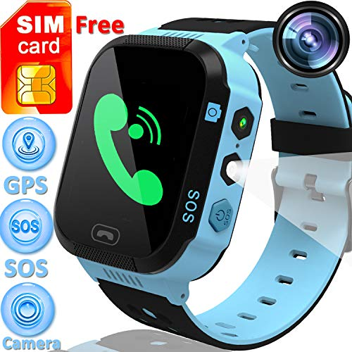 """[Speed Talk SIM Card] Included 1.44"""" Kids Smart Watch GPS Tracker Boys Girls Touch Screen Phone Smartwatch SOS Call Anti-Lost Camera Sport Wristwatch Flashlight Learning Game Watch Back to School Gift"""