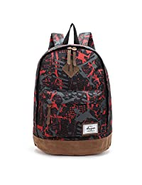 AOKE College Backpack with Laptop Compartment, Waterproof Oxford Fabric Durable Daily Use Travel Rucksack for Young Boys, Girls Students Camouflage Red