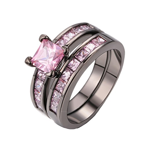 D.B.MOOD Gorgeous Temperament Rings Set Pink Amethyst Cubic Zirconia Black Gold Engagement Wedding Rings 8