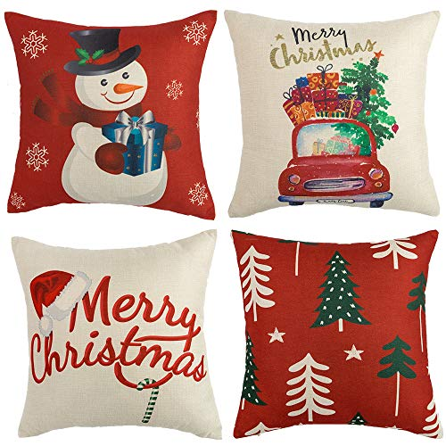 WLNUI Christmas Pillow Covers 18x18 Merry Xmas Snowman Christmas Tree Hat Holiday Decorative Throw Pillow Covers Square Cushion Case for Couch Sofa Indoor Outdoor Home Farmhouse Decor (Decor Sale On Holiday)