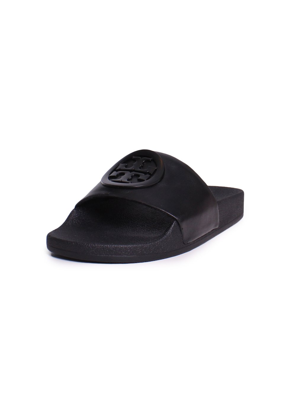 Tory Burch Lina Leather Rubber Label Slider Sandals In Black Size 10