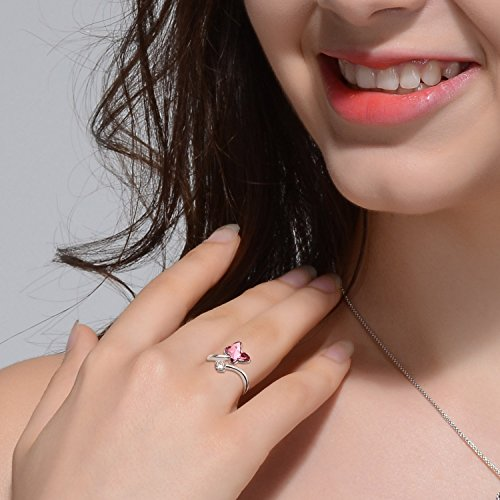 SUE'S SECRET Swarovski Element Ring Peach Red Butterfly Stone Rings with Swarovski Crystal, Ajustable Girls Rings, Birthstone Rings for Woman Girls by SUE'S SECRET (Image #5)