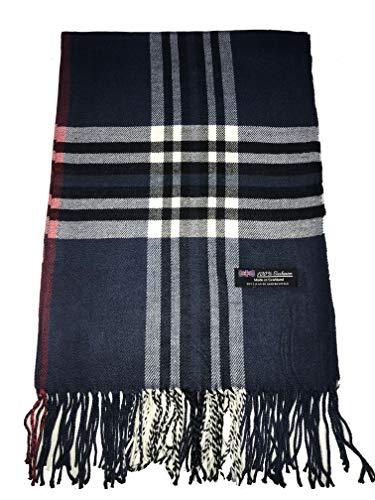 Cashmere Nova Check - 2PLY 100% Cashmere Blanket Oversized Scarf OS Tartan Nova Check Scotland Wool Plaid (Navy Blue Black White Nova Tartan Check Plaid)