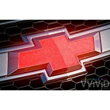 "VVIVID Reflective Red Auto Emblem Vinyl Wrap Overlay Cut-Your-Own Decal for Chevy Bowtie Grill, Rear Logo DIY Easy to Install 11.80"" x 4"" Sheets (x2)"