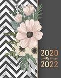 2020-2022 Monthly Planner: Elegant Marble Flower