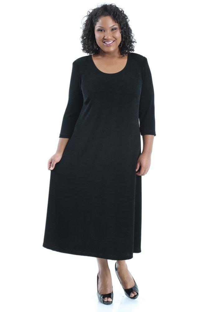 Vikki Vi Women's Plus Size 3/4 Sleeve A-Line Dress (1X)