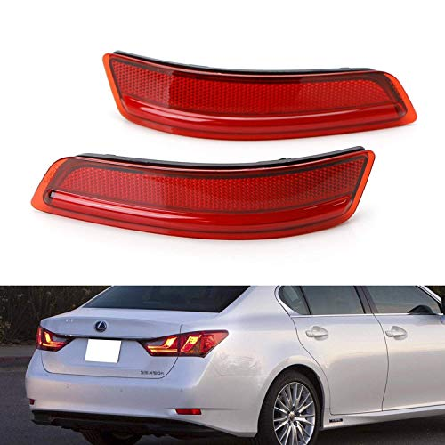 iJDMTOY Red Lens Rear Bumper Reflector Lenses For 2013-2018 Lexus GS200t GS350 GS460 GS450h ES350 ES300h etc, OE-Spec LH RH Assembly ()