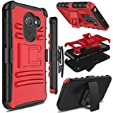 Alcatel A30 Fierce 2017 Phone Case 5.5 Inch, not Tablet Case 8 Inch, Zenic Heavy Duty Shockproof Full-body Protective Case with Swivel Belt Clip and Kickstand for Alcatel A30 Plus(Red/Black)