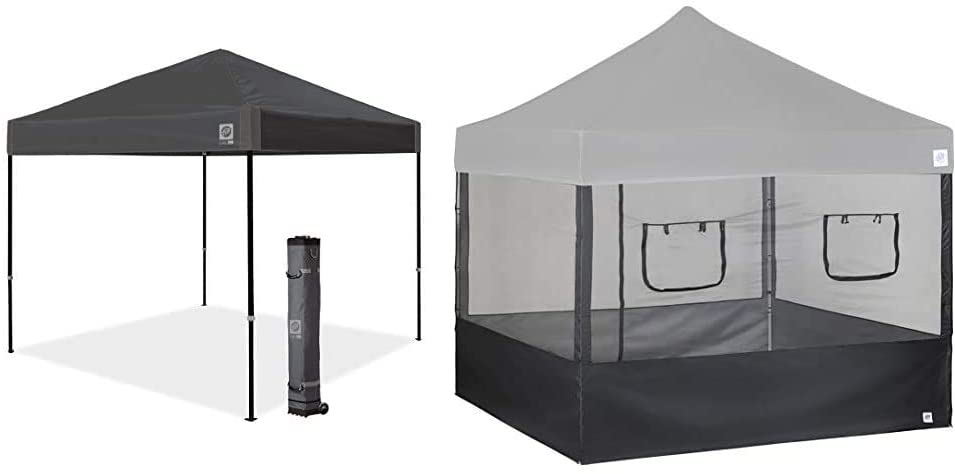 "E-Z UP Ambassador Instant Shelter Canopy, 10 by 10', Steel Gray & SPFM104TCBK 10' Food Service Vendor Screen Wall Kit with Truss Clips (Set of 4), Black, 10"" x 10"""
