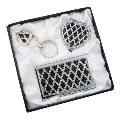 Three piece Gift Set: Heart Shaped Keychain & Personal Purse Mirror & Business Card Case with Crystal Decorations