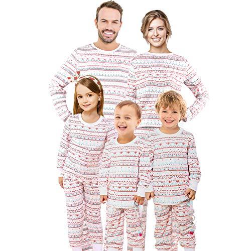 Qunisy Christmas Family Matching Pajamas Pjs Set Pyjamas Sleepwear Xmas Kids Couple White Cotton Youth -