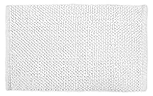 """DII  100% Cotton Chenille Pop Corn Luxury Spa Bath Rug, Soft & Absorbent, Place Near Vanity, Bath Tub or Shower, Perfect for Bathroom, Dorm Room, And Other High Humidity Use, 17x24"""", White"""