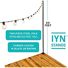 Illuminate Your Night (IYN Stands) Outdoor String Light Pole Stand - Black - 9.6 Feet Tall - Durable [Sturdy] Powder Coated Steel - for Wood Decks, Concrete Patios, Grass - Weather Resistant