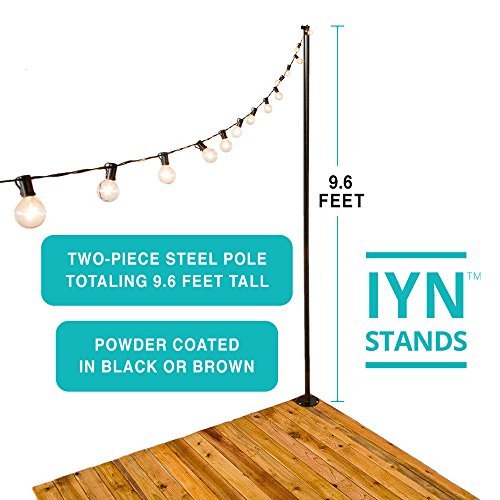 Illuminate Your Night (IYN Stands) Outdoor String Light Pole Stand - Black - 9.6 Feet Tall - Durable [Sturdy] Powder Coated Steel - for Wood Decks, Concrete Patios, Grass - Weather Resistant (Wood Deck Bar)