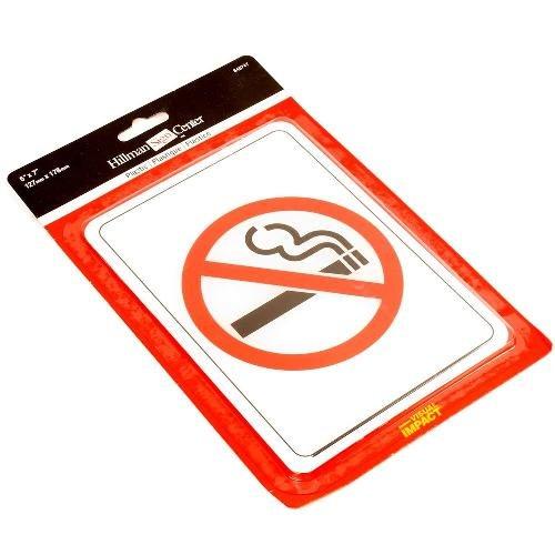 (Hillman 848747 No Smoking Symbol International Symbol Self Adhesive Sign, Black, Red and White Acrylic Plastic, 5x7 Inches (Bundle of 4) )